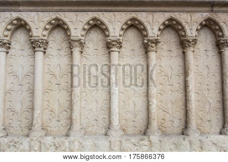 A background with gothic style decoration a fragment of the wall of a church.