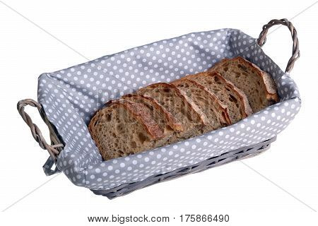 Bread box with chunks of rye white bread isolated on white