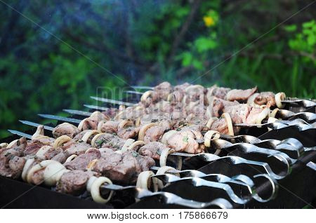 Shashlik or shashlyk (meaning skewered meat) was originally made of lamb. Nowadays it is also made of pork or beef.
