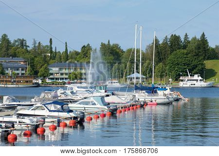 LAPPEENRANTA, FINLAND - AUGUST 21 2016: Sunny August day in the city harbor