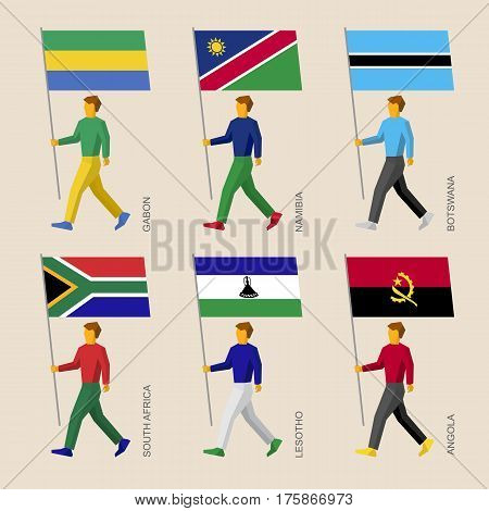 People With Flags - Gabon, Namibia, Botswana, South Africa, Lesotho, Angola