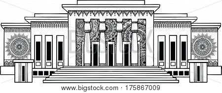 Hand drawn Beirut museum for T-Shirt design. Stock Vector