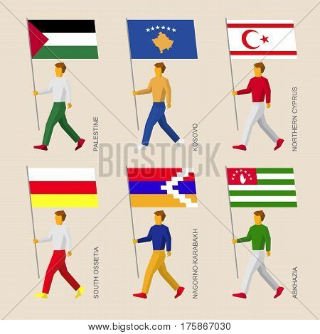 Set Of Flat People With Flags Of A Disputed Territories