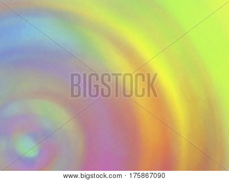 Optical illusion of radial blur effect. Abstract background with iridescent mesh gradient. Colorful noise, special effect. Colorful shades. Visual illusion of oil paintings. Vector EPS10