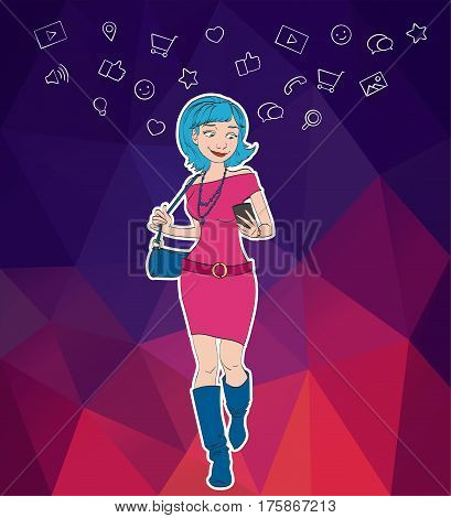 Vector woman with mobile smartphone app. Cloud service social network and technology with notification. Mobile notification