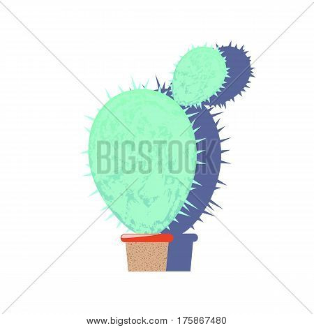 Textured cactus flat vector illustration on white. Round cactus with small baby cactus. Traditional Mexican plant. Home flower in pot. Exotic cactus with felt texture. Opuntia or prickly pear icon
