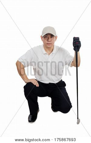 Asian Chinese Male Golfer Aiming For His Put Shot