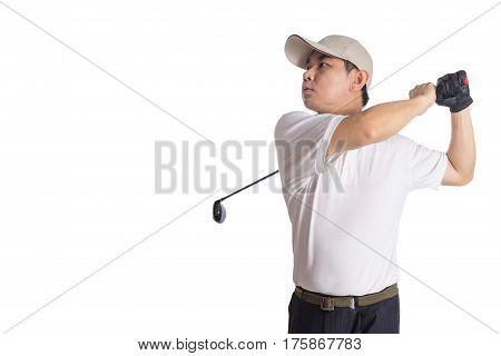 Smiling Asian Chinese Man Swinging Golf Club