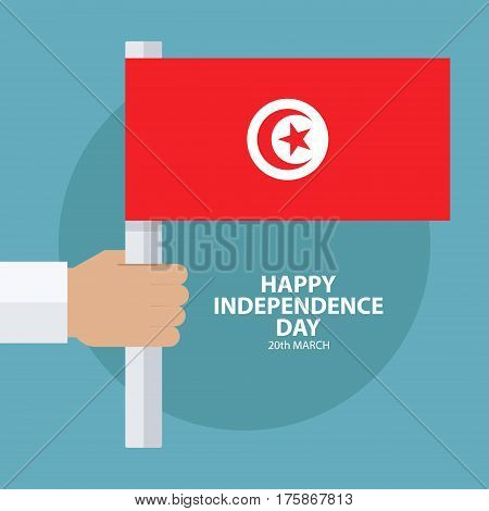 Tunisia Independence Day, 20 march greeting card with hand holding tunisian flag. Flat design vector illustration.