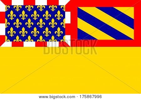 Flag of Cote-dOr is a department in the eastern part of France. Vector illustration