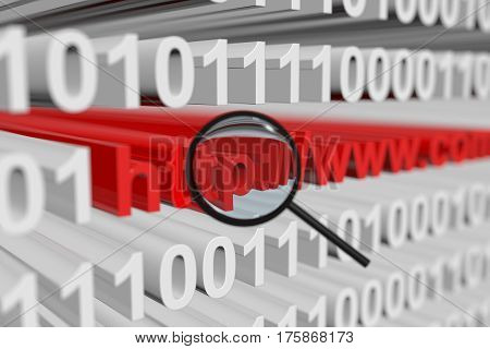 search on the Internet presented in the form of a binary code with blurred background 3d illustration