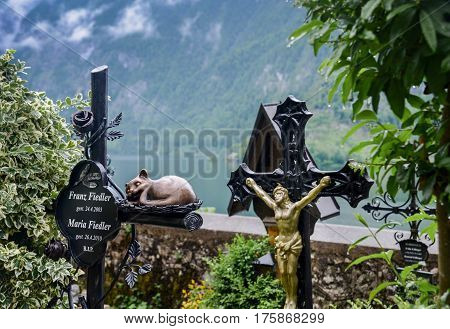 The Medieval  Cemetery In Hallstatt Village, Austria