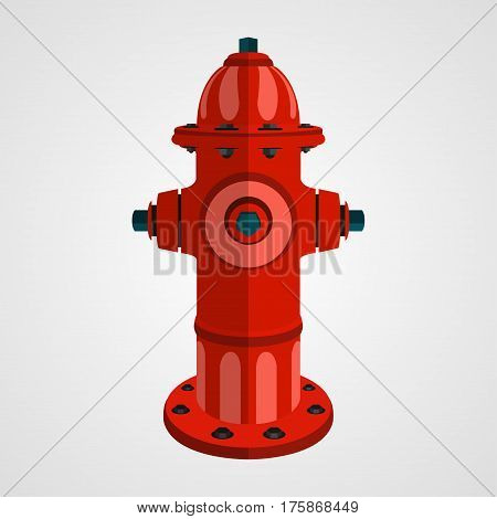 red fire hydrant on the white background, cartoon style, vector