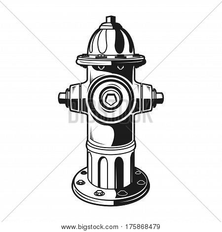 fire hydrant on the white background, monochrome style, vector