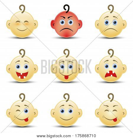 Set of nine baby smile on the white background, vector
