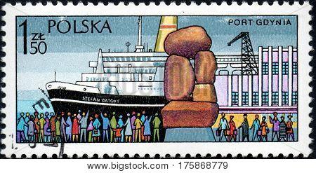 UKRAINE - CIRCA 2017: A stamp printed in POLAND shows Sea port of Gdynia circa 1980