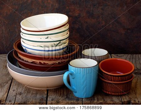 Ceramic, Clay Empty Handmade Bowl, Dishes And Cup On Wooden Background. Different Pottery Earthenwar