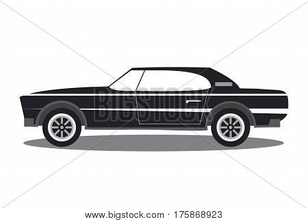 The sports car in flat style vector an illustration with the image of the  american muscle sports car.Side view, isolated. For the websites, for games, children's goods and packings, toys emblems.