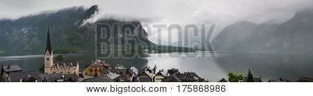 Large panoamic view on Hallstatter See and Hallstatt village in the Austrian Alps at Salzkammergut region Austria