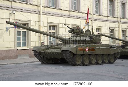 SAINT PETERSBURG, RUSSIA - MAY 05, 2015: T-90 tank on Millionnaya street. Preparing for the rehearsal of parade in honor of Victory Day in St. Petersburg
