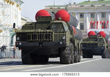 SAINT PETERSBURG, RUSSIA - MAY 05, 2015: Two launchers air defense missile systems s-300PM on the March. Rehearsal of parade in honor of Victory Day in St. Petersburg