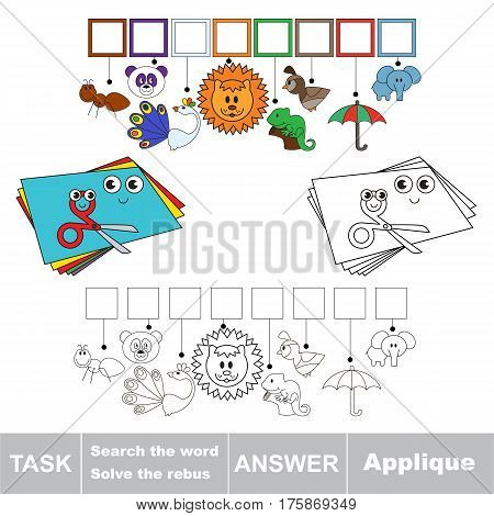 Educational rebus game for preschool kids with easy game level to find solution and write the hidden word in grid cells - Applique