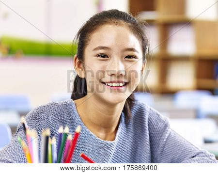 portrait of an 11-year-old asian elementary schoolgirl