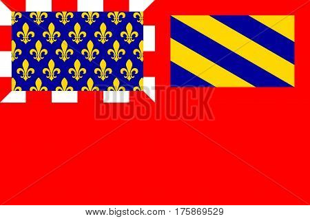 Flag of Dijon is a city in eastern France capital of the Cote-dOr departement and of the Bourgogne-Franche-Comte region. Vector illustration