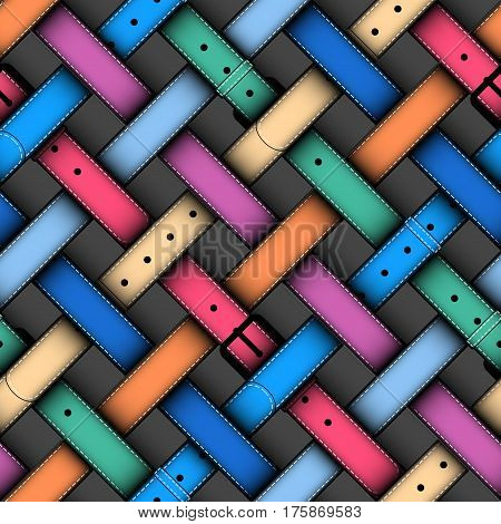Seamless background pattern. Plaid pattern with a woman colorful belts.