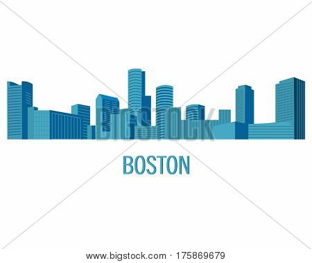 Down town American landscape with skyscrapers and high-rise buildings in flat style a vector.View of Boston from the river