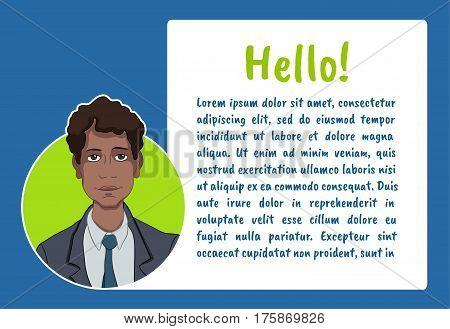 Banner with business people. Vector illustration character with bubble talk. Vector quote for colorful web banners web sites printed materials infographics startup marketing. Guy says - hello