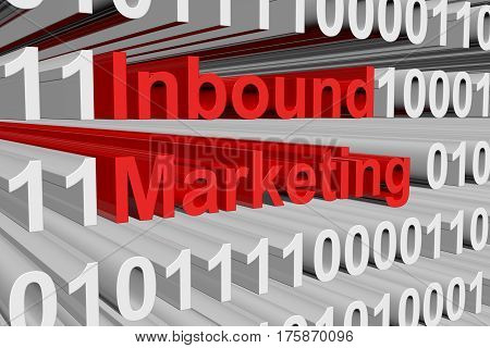 Inbound Marketing is presented in the form of binary code 3d illustration