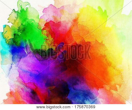bright rainbow-colored paints on white canvas structure