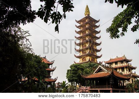 Pagoda of Pho Chieu temple in haiphong Vietnam