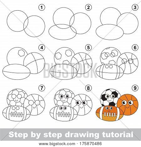 Drawing tutorial for preschool children, the easy educational kid game with simple game level of difficulty, how to draw Balls.