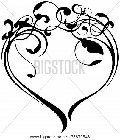 floral ornament texture create a heart shape on white background