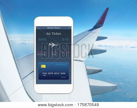 white phone with app mobile wallet and plane ticket against background airplane wing