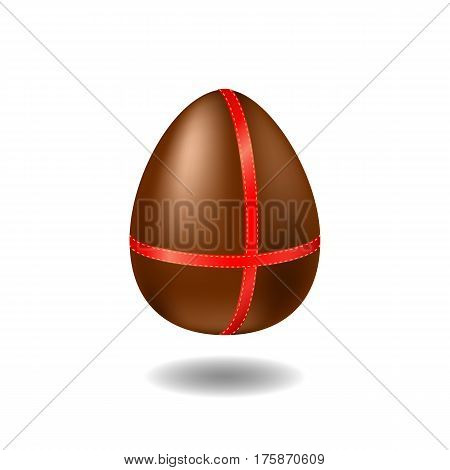 Chocolate egg with ribbon and shadow. Happy Easter vector illustration on white background. Sweet milk chocolate egg with red wrap. Easter egg present with surprise. Sweet Easter egg illustration