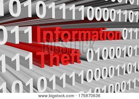 Information Theft is presented in the form of binary code 3d illustration