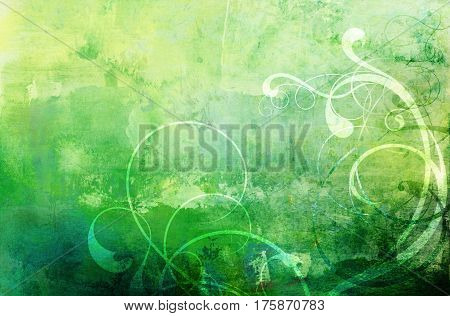 floral flourish ornament texture on green tones textured stained background
