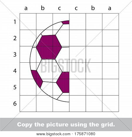 Finish the simmetry picture using grid sells, vector kid educational game for preschool kids, the drawing tutorial with easy game level for half of Football Ball.