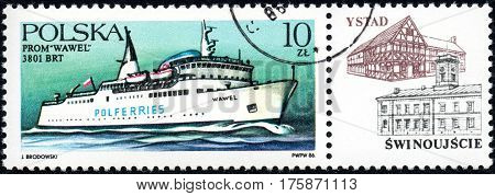 UKRAINE - CIRCA 2017: A stamp printed in POLAND shows Ferryboats Wawel circa 1986