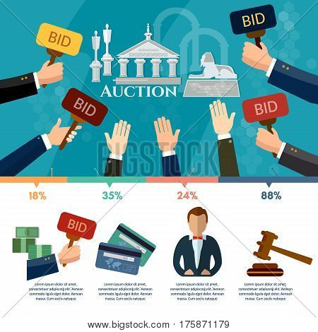 Auction and bidding infographics antiques art object culture auction bidding concept vector