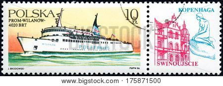UKRAINE - CIRCA 2017: A stamp printed in POLAND shows Ferryboats Wilanow circa 1986