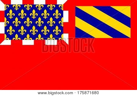 Flag of Dijon is a city in eastern France capital of the Cote-dOr departement and of the Bourgogne-Franche-Comte region