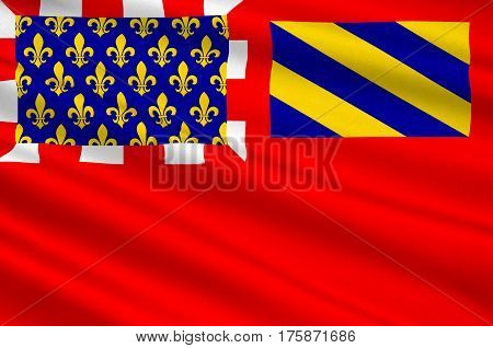Flag of Dijon is a city in eastern France capital of the Cote-dOr departement and of the Bourgogne-Franche-Comte region. 3D illustration