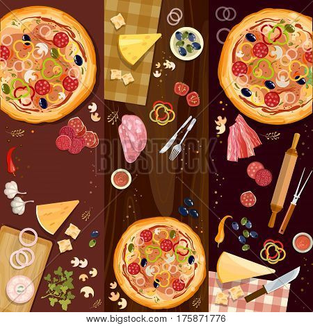 Making pizza pizza on wooden table top view banner fresh ingredients for pizza vector