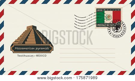 an envelope with a postage stamp with Mesoamerican pyramids and the flag of Mexico