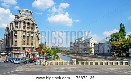 Bucharest, Romania - August 4, 2012. The Shore Of Dambovita River.