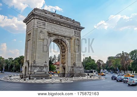 Bucharest, Romania - 4Th August 2012. Visiting The Triumph Arch.